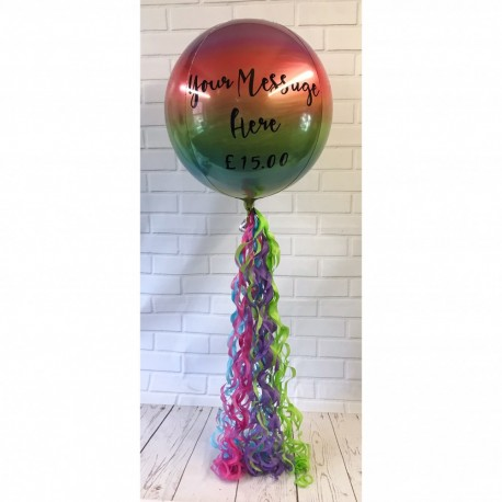 personalised ombre orb balloon