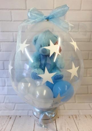 Baby Boy Teddy in a Balloon